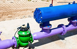 Water pipes. Industry water pipe system with automatic valve Royalty Free Stock Photography
