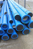 Water Pipes. Blue Plastic Pipes For New Municipal Water System Royalty Free Stock Image