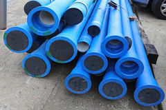 Water Pipes. Blue Plastic Pipes For New Municipal Water System Royalty Free Stock Photos