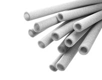 Water pipes. Closeup view thermal insulation foam pipes royalty free stock image