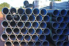 Water pipes. Pipes on a construction site Royalty Free Stock Image