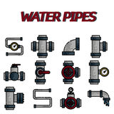 Water Pipes flat icon set Stock Images