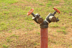 A water pipes on the green grass Royalty Free Stock Image