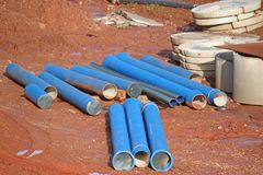 Water pipes. Pipes on a road construction site Royalty Free Stock Photography