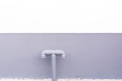 Water piping system install with the concrete wall Royalty Free Stock Photo