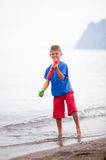 Water pistol action Royalty Free Stock Images