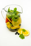 Water pitcher infused with fruit Stock Images