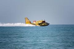 Water plane landing. On the sea near sperlonga, italy Royalty Free Stock Images