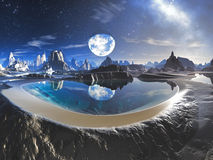 Water Planet Reflection in Alien Rock Pools. Earth-like planet reflected in a crystal clear lagoon on adjacent moon or planet Royalty Free Stock Photography