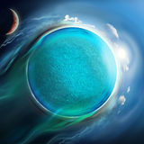 Water planet with sun and moon Stock Images