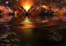 Water Planet. Tranquil Scene. Vivid starry sky and tree. Underwater view Royalty Free Stock Images