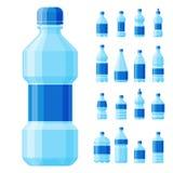Water plastic bottle vector transparent mineral beverage blank refreshment nature blue clean liquid aqua fluid template Stock Images