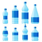 Water plastic bottle vector transparent mineral beverage blank refreshment nature blue clean liquid aqua fluid template. Water plastic bottle set vector Royalty Free Stock Image