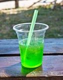Water in plastic glas Stock Foto