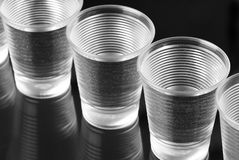 Water in plastic glasses Stock Photography