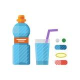 Water plastic sport bottle transparent mineral beverage blank refreshment nature clean liquid and element aqua fluid. Template vector illustration. Empty Stock Image