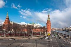 Water platoon and Borovitskaya tower Royalty Free Stock Images