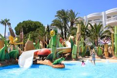 A water playground in hotel in Mallorca, Spain. A water playground in the four stars hotel in Mallorca, Spain. Swimming pool, slides, fountains, colourful Stock Photography