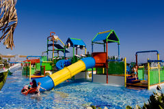 Water playground for kids. In one of beautiful Turkey resorts Royalty Free Stock Photos