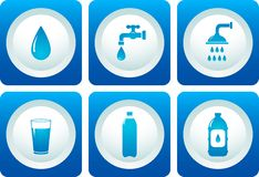 Water and plumbing icon set. Blue water and plumbing service icon set Royalty Free Stock Photo