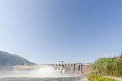 Hydroelectric Power Station. Water plums on hydroelectric power station stock photography
