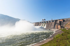 Hydroelectric Power Station. Water plums on hydroelectric power station stock photo