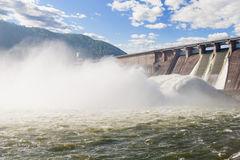 Hydroelectric Power Station. Water plums on hydroelectric power station royalty free stock photos