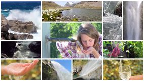 A water poetry montage. Water is the most precious asset on the planet, montage stock footage