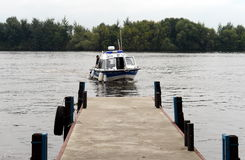 Water police patrol boat on the Moscow River. Royalty Free Stock Photos