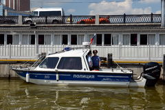 Water police patrol boat on the Moscow River. Stock Photo