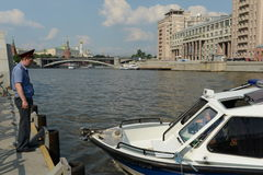 Water police patrol boat on the Moscow River. Royalty Free Stock Image