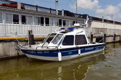 Water police patrol boat on the Moscow River. Stock Images