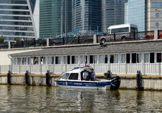 Water police patrol boat on the Moscow River. Stock Photos