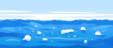 Water Pollution of Plastic Rubbish. Water polluted of plastic trash, garbage in sea water ecological disaster concept illustration, environmental pollution royalty free illustration