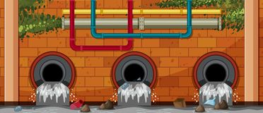 Water Pollution At Waste Pipe Stock Photo