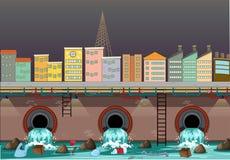 Water Pollution From City Drain. Illustration stock illustration