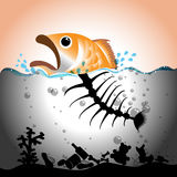 Water Pollution Concept. Illustration of fish and fish bone in  in polluted water, Water pollution concept Stock Photo