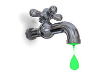 Water pollution. Illustration of water tap dripping green water isolated on white background, concept of environmental pollution and water contamination Stock Image