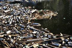 Water pollution in a lake with garbage Stock Photography