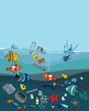 Water pollution in the ocean. Garbage and waste. Fish death. Eco concept stock illustration