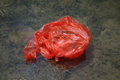 Water pollution ,Plastic bags in the water Stock Photos