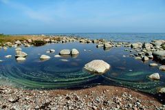 Water pollution on sea surface Royalty Free Stock Images