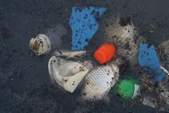 Water pollution in Thailand.plastic garbage,dead aquatic animals in sewage environment problem. stock photos