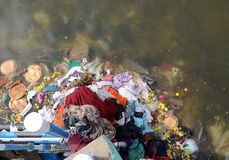 WATER POLLUTION. Pollution from wasteage drain into river Stock Photography