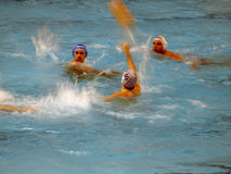 Water polo A1 Italian League in Florence. A shot of a game action in the play off of the A1 Italian League of water polo in Florence (Rari Nantes Florentia vs. s stock image