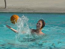 Water Polo Action. Action from a water polo game, the players, the defense, the shots Stock Image