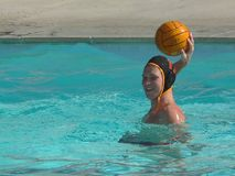 Water Polo Action. Action from a water polo game, the players, the defense, the shots Royalty Free Stock Photo