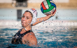 Water polo action game Royalty Free Stock Images