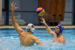 Water polo action - passing the ball Royalty Free Stock Image
