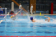 Water polo action - scoring a goal Royalty Free Stock Photography